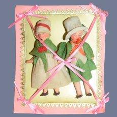 Antique Bisque Dolls Doll Set Original Clothing On Card Sweet Dollhouse Miniature
