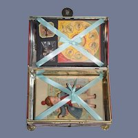 Sweet Old Tin Box W/ Bisque Doll Original Clothing Puss in The Corner Game Dollhouse Miniature
