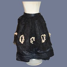 Vintage Hand Made Fashion Doll Fancy Skirt Black Lace Overlay