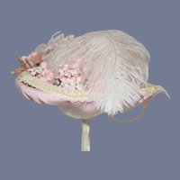 Fancy Doll Hat Bonnet Feather Bow Flowers
