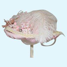 Fancy Doll Hat Bonnet Feather Bow Flowers