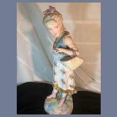 Antique Doll Bisque Piano Baby Figurine Girl W/ Sea Shell Large