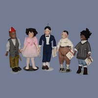The Little Rascal Doll Set W/ Dog Porcelain W/ String Tags Our Gang: