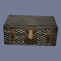 Sweet Old Doll Trunk Leather Handles Lined Petite
