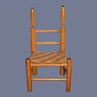 Old Cane Bottom Wood Doll Chair Folk Art