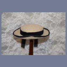 Sweet Doll Hat With Black Velvet Long Bow Wide Rim