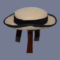 Sweet Doll Hat With Black Velvet Long Bow Wide Rim