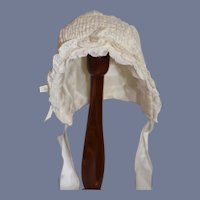 Vintage Doll Bonnet Hat White Lace Trim Gathers