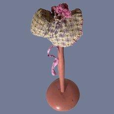Vintage Hand Made Doll Bonnet Fancy Fashion Doll China Head High Brim Fancy