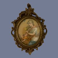 Sweet Old Miniature Painting Dollhouse Victorian Lady Glass Front Wood Gilt Frame