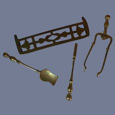 Wonderful Old Brass Fireplace Fender and Accessories Miniature Dollhouse Doll
