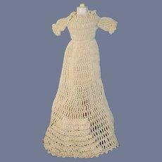 Wonderful Old Doll Dress Gown Crochet Unusual With Crochet Ruffles