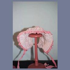 Vintage Doll Hand Made Fancy French Market Bonnet Doll hat High Brim