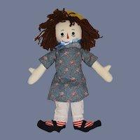 Sweet Vintage Raggedy Ann Cloth Doll W/ Straw Hat and Raggedy Ann Sash