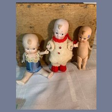 Antique Doll SET German Side Glancing Eyed All Bisque Character Dolls THREE DOLLS