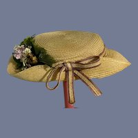 Vintage Doll Straw Hat Bonnet W/ Bow Flowers
