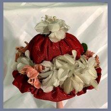 Old Hand Made Doll Bonnet FLowers Fancy