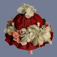 Old Hand Made Doll Bonnet FLowers Fancy