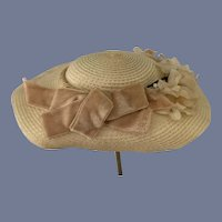 Old Fancy Straw Doll Bonnet Hat W/ Bow and Flowers