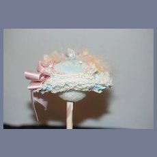 Sweet Doll Bonnet Fashion Doll French Market Flowers Lace Bow Petite