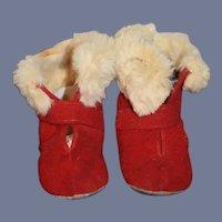 Vintage Red Felt fur trimmed Shoes Boots for Doll
