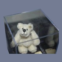 Vintage Miniature Artist Teddy Bear Linda B Schaff Jointed Mohair White
