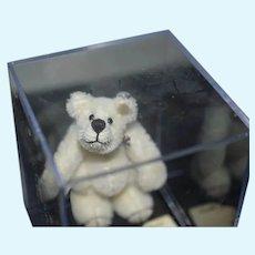 Vintage Miniature Artist Teddy Bear Linda B Schaff Jointed Mohair White