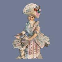 Antique Messien Card Dealer Victorian Lady Gorgeous Figurine