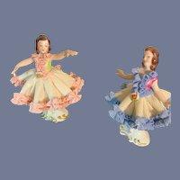 Old Miniature Ballerina Set Doll Figurines Porcelain Lace