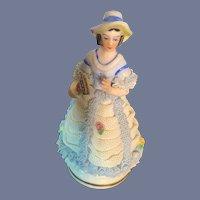 Sweet Petite Miniature Dresden Doll Lady Figurine Porcelain Lace Holding Fan
