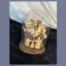 Antique Miniature Nativity Set Sweet Wax in Glass Dome Religious