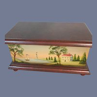 Vintage Jean Galloway Hand Painted Doll Chest Petite Size Gorgeous Trunk