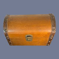 Old Wood & Leather Dome Shaped Lion Head Handle Doll Trunk
