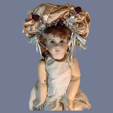 Vintage Hand Made Doll Bonnet French Market High Topper Ornate