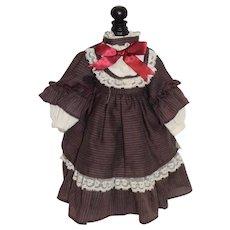 Vintage Doll Dress Lace Trim Fancy