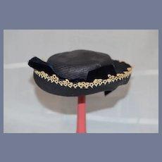 Sweet Straw Doll Bonnet Hat W/ Velvet Bows