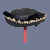 Sweet Straw Doll Bonnet Hat W/ Velvet Bows