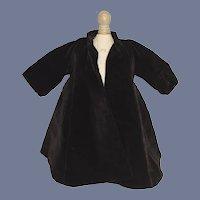 Gorgeous Vintage Satin Lined Black Velvet Swing Coat for Doll
