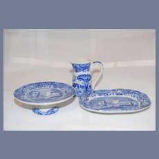 Vintage Spode Set For Doll Miniature Platter Cake Stand Pitcher Blue and White Dishes