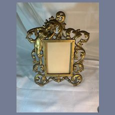 Antique Brass Risque Lady Ornate Frame Easel Back Gorgeous