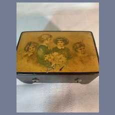 Wonderful Ebony Petite Wind Up Music Box W/ Victorian Children Petite For Fashion Doll