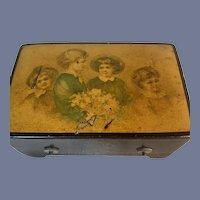 Wonderful Ebony Petite Wind Up Music Box W/ Victorian Children Petite For Fashion Doll