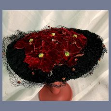Sweet Vintage Doll Hat Made w/ Old Lace Velvet flowers Netting