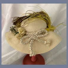 Vintage Doll Hat W/ Cord and Feather Wide Brim Straw Bonnet