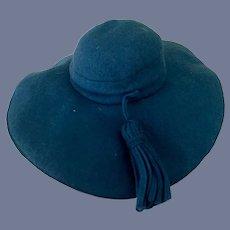 Sweet Vintage Felt Doll Bonnet W/ Tassel Wide Bonnet