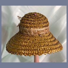 Vintage Doll Straw Bonnet W/ Fancy Bow Wide Brim