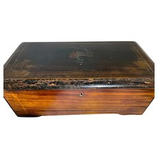 Antique Mechanical Music Box Wood & Metal Crank Handle Wind Up Plays