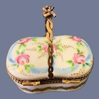Old Miniature Porcelain Hinged Trinket Box W/ Bow Handle Limoges France Peint Mein P.V.
