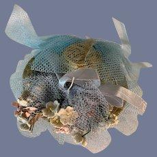 Vintage Doll Straw Bonnet Hat Fancy Flowers and Netting