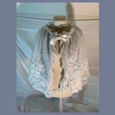 Antique French Lace Fashion Doll Shawl Grogeous